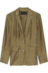 J.Crew Washed Silk Taffeta Blazer Green