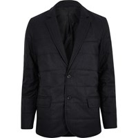 River Island Mens Navy Padded Quilted Slim Blazer