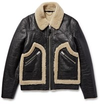 Coach Stinger Textured Shearling Jacket Black