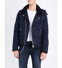 The Kooples Quilted Wool Blend Jacket Navy