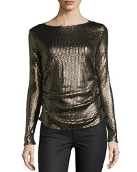 Nicole Miller Long Sleeve Sequined Top Black Gold