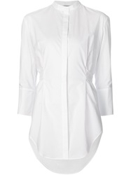 Protagonist Back Tie Band Collar Shirt White