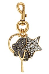 Marc Jacobs Embellished Keychain With Swarovski Stones Gold