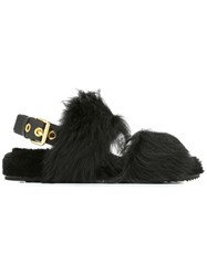 Car Shoe Furred Sling Back Sandals Black
