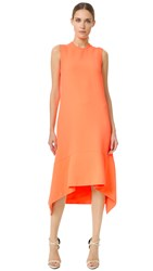 Victoria Beckham Draped Hem Midi Dress Acid Pink