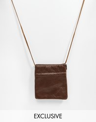 Reclaimed Vintage Leather Coin Pouch Necklace Brown