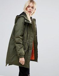 Noisy May Thule Padded Parka Jacket Green