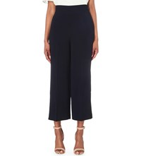 Whistles Fluid Cropped High Rise Crepe Trousers Navy