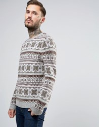 Asos Lambswool Rich Jumper With All Over Fairisle Grey