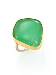 Lena Skadegard Chrysoprase 18K Yellow Gold And Sterling Silver Cabochon Ring Gold Green