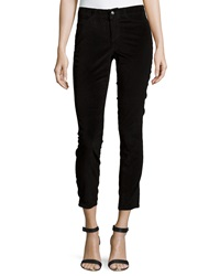 Christopher Blue Velvet Cropped Ankle Pants Black