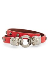 Alexander Mcqueen Women's Alecander Twin Skull Double Wrap Leather Bracelet China Red