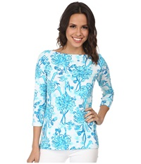 Lilly Pulitzer Andie Top Resort White Back It Up Women's Clothing Blue