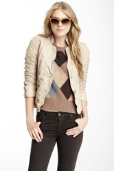 Muubaa Propos Fitted Leather Blazer Beige