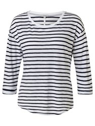 Jigsaw Foundation Slub Stripe 3 4 Sleeve T Shirt Navy