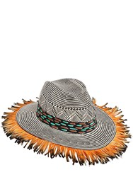 Etro Paper Woven Hat W Duck Feathers