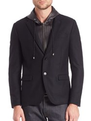 The Kooples Woolen Jacket With Removable Waistcoat Black