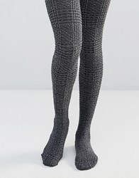 Jonathan Aston Check Tights Black Grey