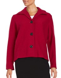 Nipon Boutique Wool Button Front Jacket Fire Red