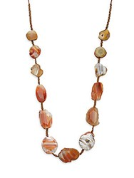 Chan Luu Sterling Silver And Agate Stone Necklace Brown Agate