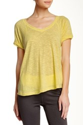 Steve Madden Relaxed Fit V Neck Tee Yellow