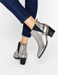 Carvela Slicker Leather Mid Heeled Ankle Boots Silver Leather