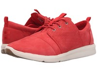 Toms Del Rey Sneaker Red Nubuck Women's Lace Up Casual Shoes