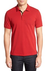 Men's Burberry Brit 'Oxford' Short Sleeve Polo Military Red