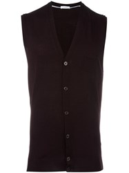 Paolo Pecora Sleeveless Cardigan Brown