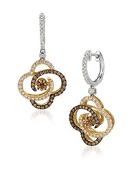 Levian 0.68Tcw Diamonds 14K White And Yellow Gold Chocolatier Linear Earrings Two Tone