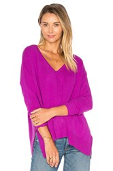 Autumn Cashmere Side Slit V Neck Sweater Fuchsia