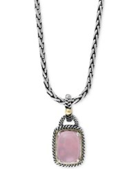 Effy Collection Serenity By Effy Rose Quartz Pendant Necklace 7 1 6 Ct. T.W. In Sterling Silver And 18K Gold