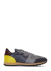 Valentino Camouflage Contrast Panel Stud Sneakers Grey