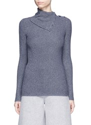Theory 'Leendelly B' Button Turtleneck Knit Top Blue