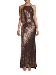 Badgley Mischka Sequin Cowlback Halter Gown Copper