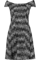 Missoni Off The Shoulder Metallic Crochet Knit Mini Dress Black