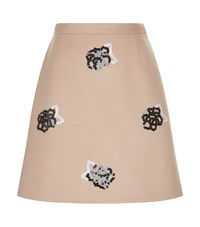 Christopher Kane Sequin Flower Mini Skirt Female Beige
