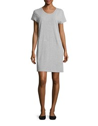 Karen Neuburger Cap Sleeve Striped Jersey T Shirt Dress With Pockets Grey