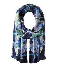 Echo Painted Plaid Oblong Navy Scarves