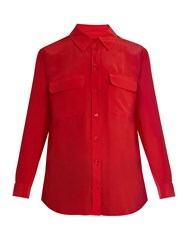 Equipment Signature Washed Silk Shirt Red