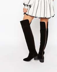 Asos King Fisher Suede Over The Knee Boots Black