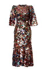 Dolce And Gabbana Sequin Paillette Midi Dress Brown Red Silver