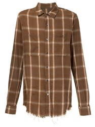 Amiri Plaid Button Down Shirt Brown