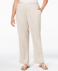Alfred Dunner Plus Size Acadia Collection Pull On Straight Leg Pants Natural