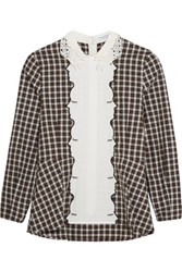 Vivetta Gingham Embroidered Cotton Blend Top Brown