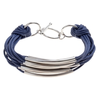 John Lewis Multi Row Cord Metal Tube Bracelet Navy