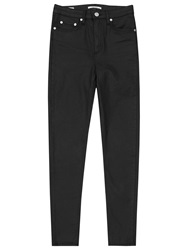Reiss Helvin Coated High Rise Skinny Jeans Black