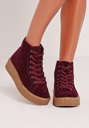 Missguided High Top Flatform Berry Purple