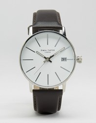 Simon Carter Black Leather Watch With White Dial Black