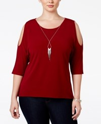 Ny Collection Plus Size Cold Shoulder Necklace Top Burgundy